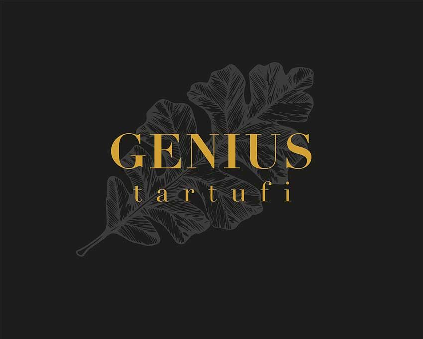 GENIUS tartufi Logo Eichenblatt auf dunklem Hintergrund