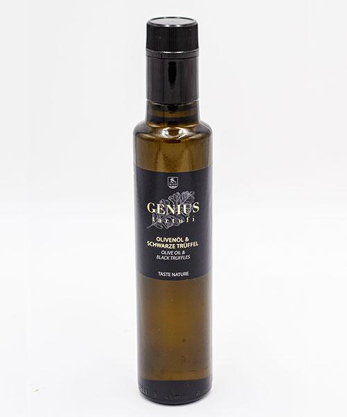Flasche Olivenöl mit schwarzen Trüffel
